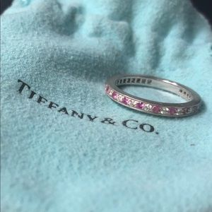 Tiffany Platinum Diamond and Pink Sapphire Ring
